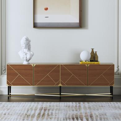 慕梵迪 電視柜 現代輕奢 環保密度E1級板+不銹鋼五金電鍍鈦金 GT-001