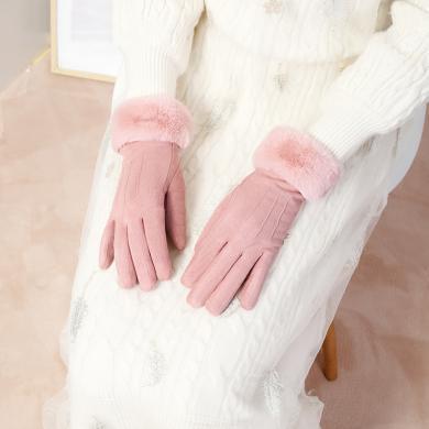 GOLF/高尔夫手套女士秋冬季加绒加厚可爱学生保暖防风防寒麂皮手套  M901764