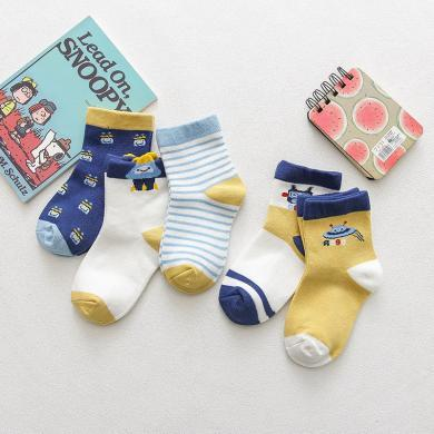 謎子 5雙裝兒童襪子春季新款男童中筒襪女童卡通印花襪子時尚百搭寶寶襪子