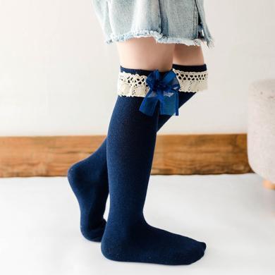 謎子 女童襪子新款花邊蝴蝶結公主襪蕾絲中筒棉襪兒童襪子