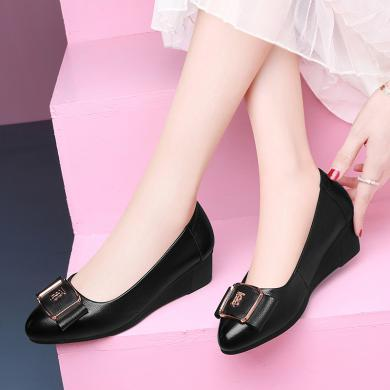 古奇天倫2020新款黑色女士皮鞋職業工作女鞋子高跟韓版百搭坡跟單鞋9799