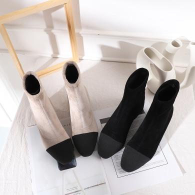 搭歌小香风短靴女新款女鞋秋冬方头粗跟靴子女?#31508;?#30246;靴FH2028-6