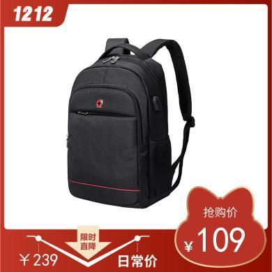 瑞士軍刀 時尚商務背包 雙肩背包 旅行包書包 背包SA-7756黑色