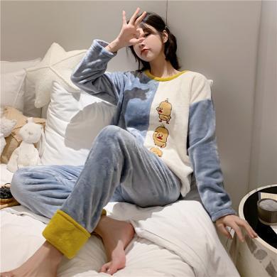 锦序睡衣女冬季套头长袖长裤舒适保暖法兰绒女士家居服