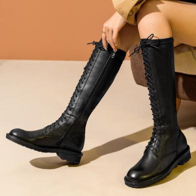 青婉田骑士靴长靴ann马丁靴女英伦风机车靴高筒靴女2019新款女靴Y19DX1440(预售20天)