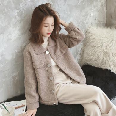 億族 短款羊羔毛外套女冬季新款韓版百搭寬松學生加厚毛絨皮毛一體夾克上衣