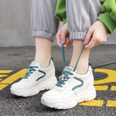 MIJI2020鞋子女新款韩版百搭厚底内增高休闲鞋ins网红时尚小白鞋WY-816