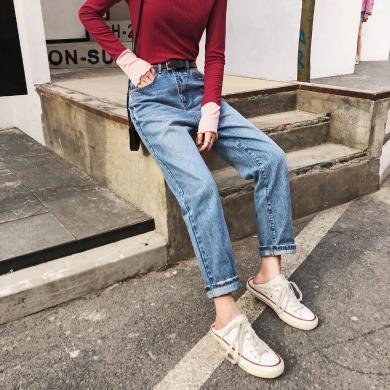 七格格牛仔裤高腰显瘦女2019新款秋季直筒九分裤显高时尚洋气裤子