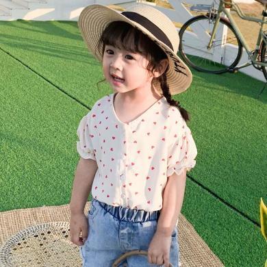 ocsco 女童襯衫夏季新款童裝愛心印花襯衣中小童寬松上衣打底衫