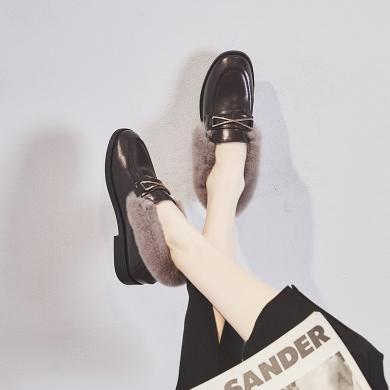 ZHR冬新款豆豆鞋百搭加絨毛毛鞋女外穿保暖女鞋內增高樂福鞋