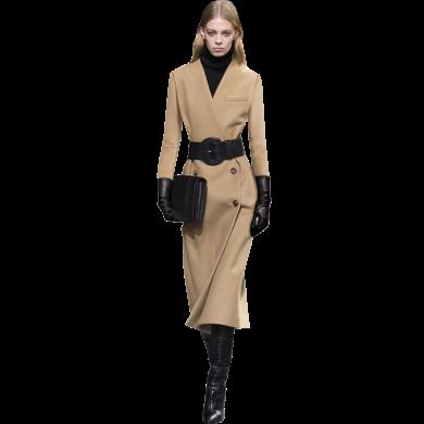 韓版流行呢子修身駝色大衣2019新款女士秋冬女裝法式復古毛呢外套