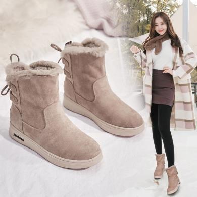 美駱世家雪地靴女兔毛冬季2019新款時尚短筒靴加厚棉鞋短靴子加絨面包鞋子LP-1115