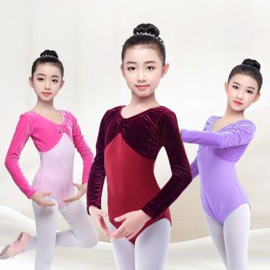 謎子 女童舞蹈服秋季新款練功舞服童裝芭蕾舞服長袖絲絨連體服拉丁演出服