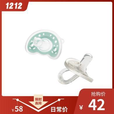 【 2只裝】喔喔牛奶嘴 標準口徑 安睡型 安撫奶嘴型0-6個月 新生兒 藍灰色