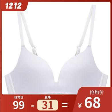 珀依蘭 聚攏薄款無鋼圈文胸新品 無痕一片式睡眠內衣女會呼吸胸罩Y18398
