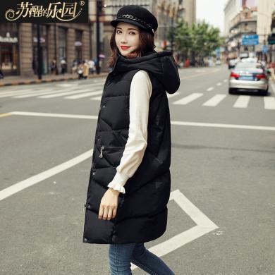 蘇醒的樂園馬甲女中長款新款冬韓版寬松時尚黑色顯瘦圓領連帽無袖棉馬甲SXMJl8007
