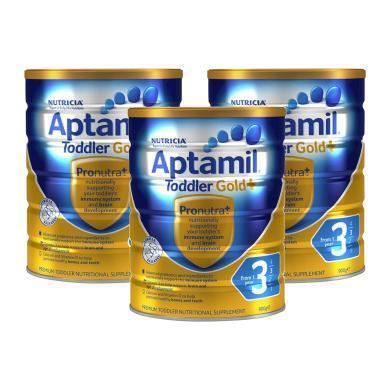 【支持購物卡】3罐*澳洲Aptamil新西蘭愛他美 金裝愛他美嬰兒配方奶粉 3段 900克 1-2歲適用澳洲直郵