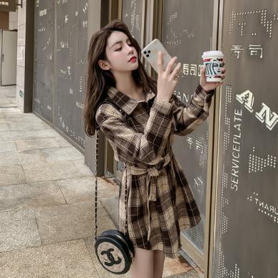 DOWISI裙子女2019秋冬新款寬松收腰加厚磨毛格子連衣裙女F3033