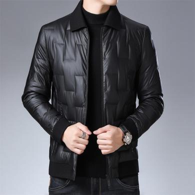 花花公子貴賓 冬季男士針織翻領羽絨服新款時尚青年韓版休閑純色長袖外套潮