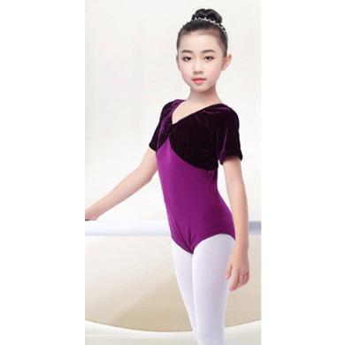 謎子 女童舞蹈服夏季新款練功舞服童裝芭蕾舞服長袖絲絨開檔連體服拉丁演出服