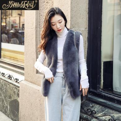 蘇醒的樂園冬裝馬甲外套女裝新款韓版時尚復古氣質性感無袖馬夾仿款皮草SXPCl9010