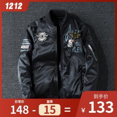 外套男士商務夾克風衣飛行服雙面穿冬季夾克男加厚外套 時尚刺繡兩面穿棒球服ma1空軍面棉服夾克飛行服外套KST-B03夾克