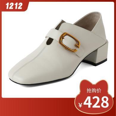 百田森秋季新款方头皮鞋女粗跟中跟女鞋正装工作两穿休闲单鞋PML19621