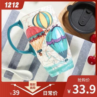 愛屋格林大容量馬克杯子陶瓷帶蓋咖啡創意早餐杯家用水杯