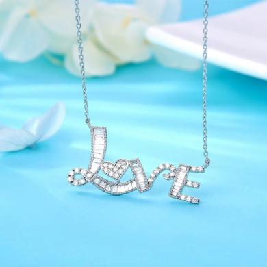 【定制款】Cerana 白18K金鉆石項鏈吊墜LOVE字母項鏈鎖骨鏈女禮物金項鏈