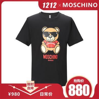 [支持购物卡]MOSCHINO/莫斯奇诺 SWIM系列墨镜熊印花 男款T恤 1910