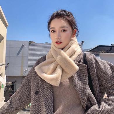 meyou 秋冬新款韓版時尚毛毛學生百搭圍巾氣質短款保暖套頭圍脖女