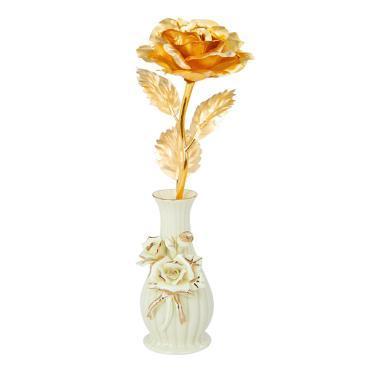 金箔玫瑰+陶瓷花瓶 春節新年元宵節情人節送老婆愛人女朋友創意禮物生日禮物結婚紀念禮物包裝永生花禮盒少女心送閨蜜