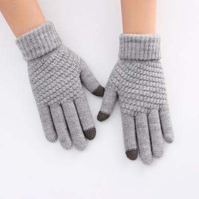 meyou 冬季新款触屏加厚保暖手套女加绒针织五指毛线?#20449;?#21516;款手套