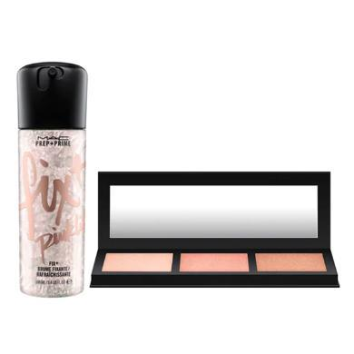 【支持購物卡】粉色 mac 限量款定妝噴霧+三色高光套裝pink