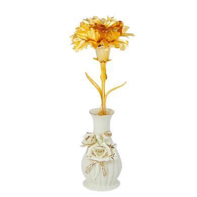 金箔康乃馨+陶瓷花瓶-金箔康乃馨 送母親送長輩禮盒少女心送閨蜜情人節送女朋友愛人老婆生日禮物創意