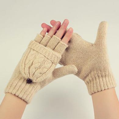 meyou 秋冬新款翻蓋手套雙編麻花兩用保暖手套半指手套男女同款