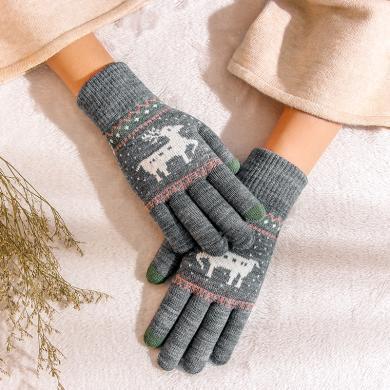 meyou 冬季新款加絨加厚保暖手套圣誕小鹿學生毛線針織觸屏手套男女同款