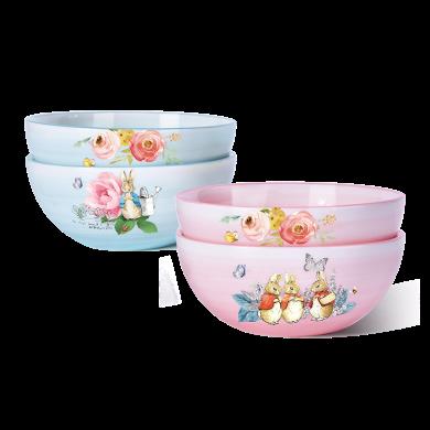 英国比得兔4碗套装蓝粉色四碗组合家用小碗颜值碗饭碗