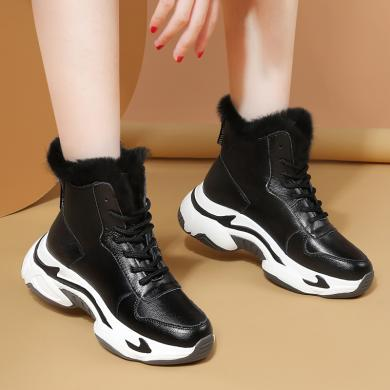 美骆世家雪地靴女2019新款鞋子时尚短靴加厚马丁靴子冬季加绒棉鞋冬鞋XLJ-9479
