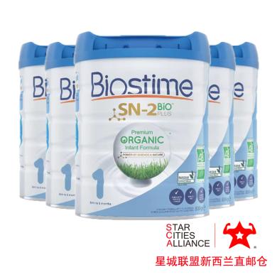 【支持购物卡】6罐*新西兰Biostime 合生元 有机奶粉一段 (0-6个月)婴幼儿宝宝奶粉800g /罐 新西兰空运直邮