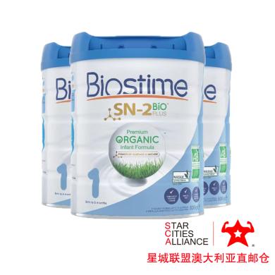 【支持购物卡】3罐*澳洲Biostime 合生元 有机奶粉一段 (0-6个月)婴幼儿宝宝奶粉800g /罐 澳洲空运直邮