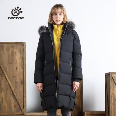 TECTOP探拓女長款超厚羽絨服冬季狐貍毛帽子外套防風保暖抗寒戶外冬裝