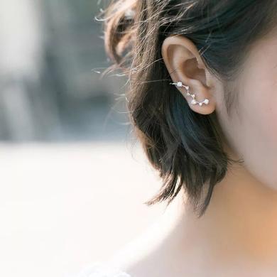 DCM 925纯银耳钉 情人节礼物 气质星星耳排 女韩版气质耳环耳骨 个性简约耳钉 银饰品