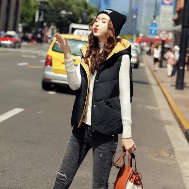 蘇醒的樂園棉馬甲女裝外穿秋冬季新款棉襖時尚韓版坎肩背心外套短款馬夾SXMJl9021