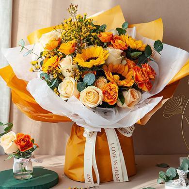 韓式系列/一路向陽-向日葵 香檳玫瑰鮮花周年紀念日生日禮物創意禮物情人節送女朋友送禮拜訪生日禮物女神節女生節38婦女節