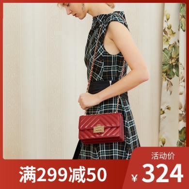 拉菲斯汀包包女2019新款小香風羊皮菱格包單肩小方包鏈條包斜挎包