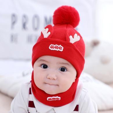 謎子 嬰兒帽子圍脖兩件套冬季新款女童加厚針織帽萌萌噠男寶寶毛線帽圍脖套裝