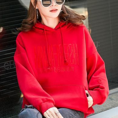 衛衣女2019秋冬新款連帽衫韓版寬松大碼女裝加絨加厚WY3124
