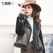 七格格仿皮草小皮衣女士短款2018秋冬装新款韩版bf机车外套原宿修身夹克