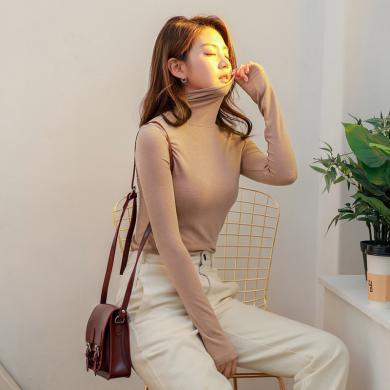 韩都衣舍2019春装新款女装韩版纯色打底衫高领修身针织衫JM9864蒖